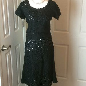 Vintage Martha West black dress late 1950s